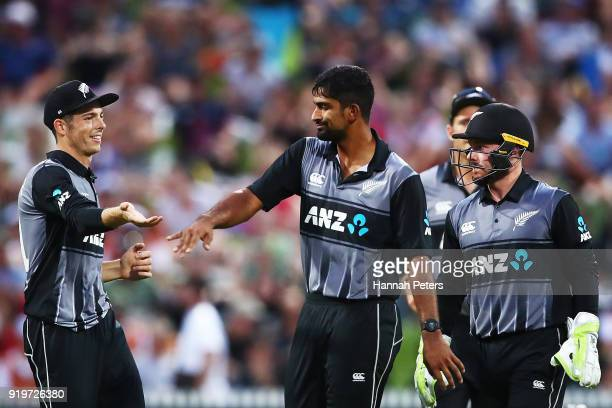 Ish Sodhi of the Black Caps celebrates the wicket of Jos Buttler of England during the International Twenty20 match between New Zealand and England...