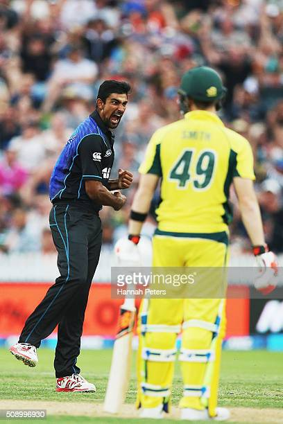 Ish Sodhi of the Black Caps celebrates the wicket of Steve Smith of Australia during the 3rd One Day International cricket match between the New...