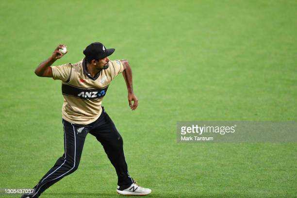 Ish Sodhi of the Black Caps fields during game four of the International T20 series between New Zealand Blackcaps and Australia at Sky Stadium on...