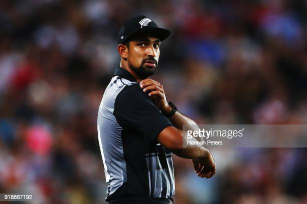 Ish Sodhi of the Black Caps looks on during the International Twenty20 match between New Zealand and Australia at Eden Park on February 16 2018 in...