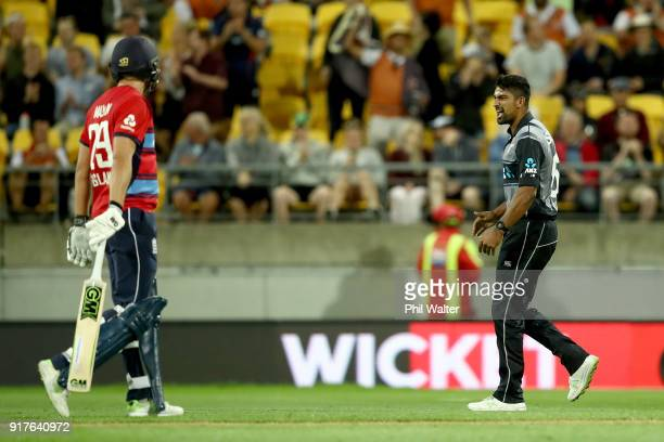 Ish Sodhi of the Blackcaps celebrates his dismissal of Alex Hales of England during the International Twenty20 match between New Zealand and England...