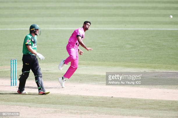 Ish Sodhi of the Knights bowls during the Super Smash Grand Final match between the Knights and the Stags at Seddon Park on January 20 2018 in...