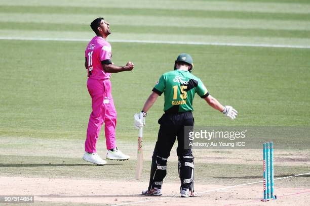 Ish Sodhi of the Knights celebrates the wicket of Dane Cleaver of the Stags during the Super Smash Grand Final match between the Knights and the...