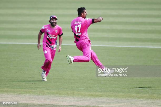 Ish Sodhi of the Knights celebrates the wicket of Josh Clarkson of the Stags during the Super Smash Grand Final match between the Knights and the...