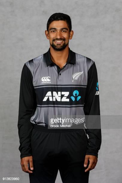 Ish Sodhi poses during the New Zealand International Twenty20 headshots session at Sydney Cricket Ground on February 1 2018 in Sydney Australia