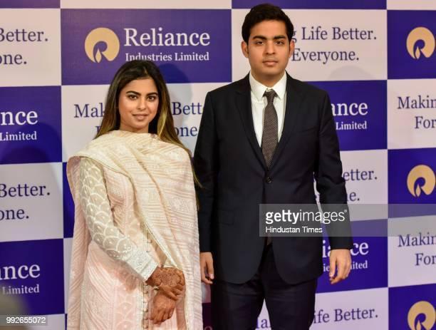 Isha and Akash Ambani during the Reliance Industries 41st Annual General Meeting at Birla Matoshree Hall on July 5 2018 in Mumbai India On Thursday...