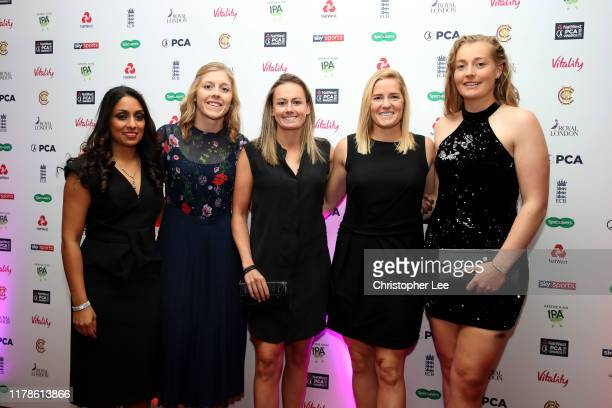 Isha Guha Heather Knight Laura Marsh Katherine Brunt and Sophie Ecclestone arrives for the 50th NatWest PCA Awards at The Roundhouse on October 02...