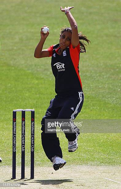 Isha Guha of England in action during the NatWest Women's Quadrangular Series match between England and India at the County Ground on June 30 2011 in...