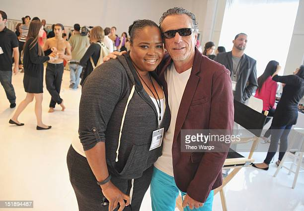 Isha Price and Owner ASSOLUTO INC Ugo Capasso attend EleVen by Venus Williams S/S 2013 presentation behind the Grey Goose Blue Door on September 12...