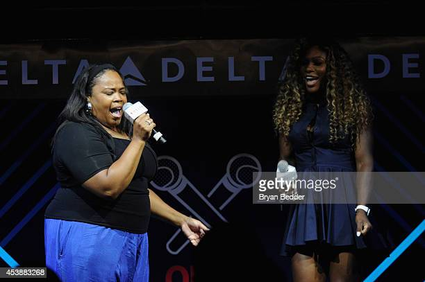 Isha Price and Serena Williams join Delta Air Lines for the Delta OPEN Mic a private karaoke event in celebration of Serena Williams' upcoming...