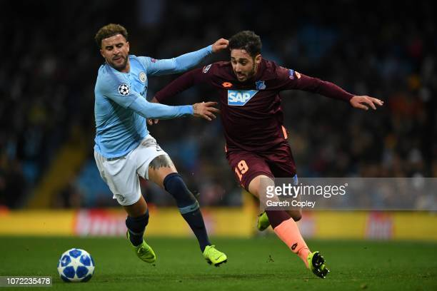 Ishak Belfodil of 1899 Hoffenheim and Kyle Walker of Manchester City during the UEFA Champions League Group F match between Manchester City and TSG...