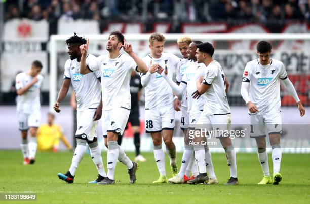 Ishak Belfodil of 1899 Hoffenheim celebrates after scoring his team's second goal with his team mates during the Bundesliga match between Eintracht...