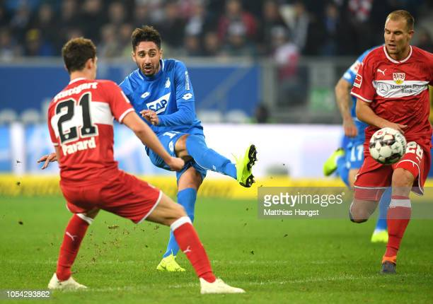 Ishak Belfodil of 1899 Hoffenheim scores his team's fourth goal during the Bundesliga match between TSG 1899 Hoffenheim and VfB Stuttgart at Wirsol...