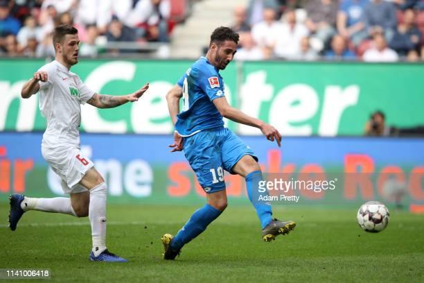 Ishak Belfodil of 1899 Hoffenheim scores his team's fourth goal during the Bundesliga match between FC Augsburg and TSG 1899 Hoffenheim at WWK-Arena...