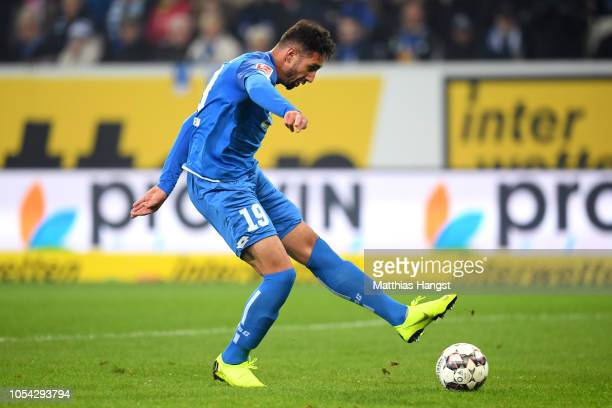 Ishak Belfodil of 1899 Hoffenheim scores his team's third goal during the Bundesliga match between TSG 1899 Hoffenheim and VfB Stuttgart at Wirsol...