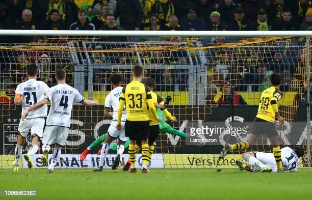 Ishak Belfodil of 1899 Hoffenheim scores his team's third goal during the Bundesliga match between Borussia Dortmund and TSG 1899 Hoffenheim at...
