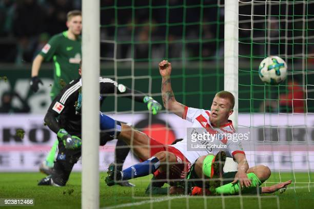 Ishak Belfodil of Bremen about to score a goal to make it 10 during the Bundesliga match between SV Werder Bremen and Hamburger SV at Weserstadion on...