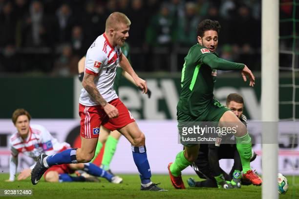 Ishak Belfodil of Bremen about to score a goal to make it 1:0 during the Bundesliga match between SV Werder Bremen and Hamburger SV at Weserstadion...