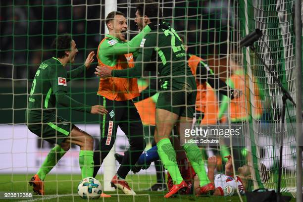 Ishak Belfodil of Bremen celebrates after he scored a goal to make it 10 during the Bundesliga match between SV Werder Bremen and Hamburger SV at...