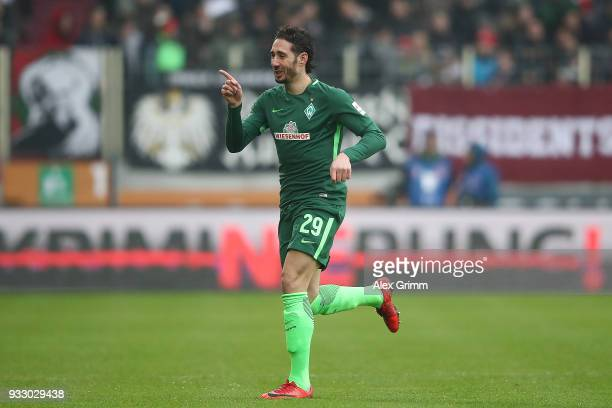 Ishak Belfodil of Bremen celebrates after he scored a goal to make it 01 during the Bundesliga match between FC Augsburg and SV Werder Bremen at...