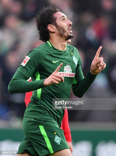 Ishak Belfodil of Bremen celebrates scoring the second goal during the Bundesliga match between SV Werder Bremen and 1 FSV Mainz 05 at Weserstadion...