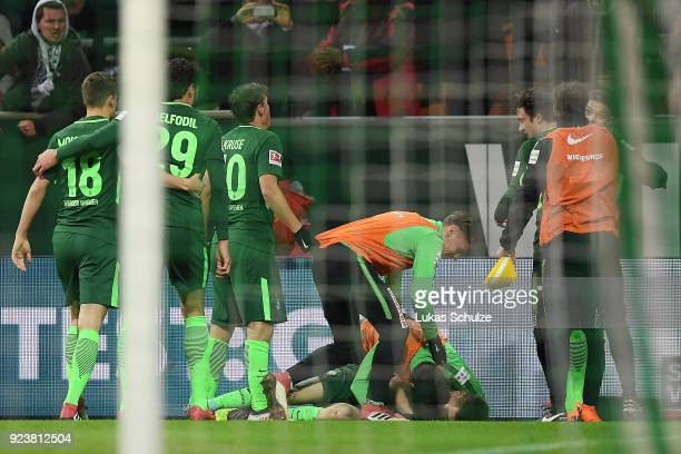 Ishak Belfodil of Bremen is celebrated by his team after he scored a goal to make it 1:0 during the Bundesliga match between SV Werder Bremen and...