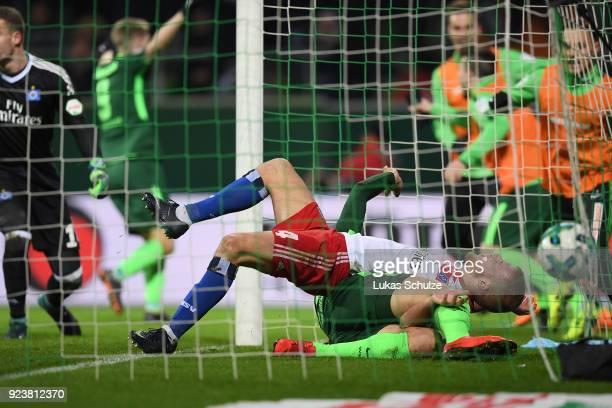 Ishak Belfodil of Bremen scores a goal to make it 1:0 during the Bundesliga match between SV Werder Bremen and Hamburger SV at Weserstadion on...