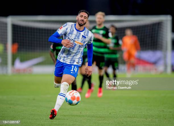 Ishak Belfodil of Hertha in action during the Bundesliga match between Hertha BSC and SpVgg Greuther Fürth at Olympiastadion on September 17, 2021 in...