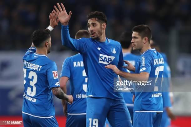 Ishak Belfodil of Hoffenheim celebrates his team's first goal during the Bundesliga match between TSG 1899 Hoffenheim and Bayer 04 Leverkusen at...