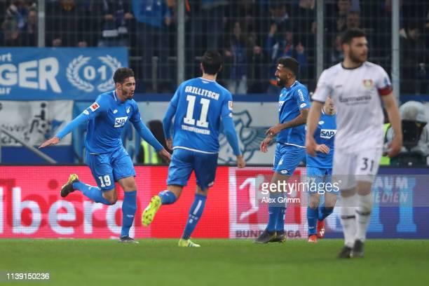 Ishak Belfodil of Hoffenheim celebrates scoring a goal to make it 3-1 during the Bundesliga match between TSG 1899 Hoffenheim and Bayer 04 Leverkusen...