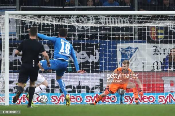 Ishak Belfodil of Hoffenheim scores a goal to make it 3-1during the Bundesliga match between TSG 1899 Hoffenheim and Bayer 04 Leverkusen at...