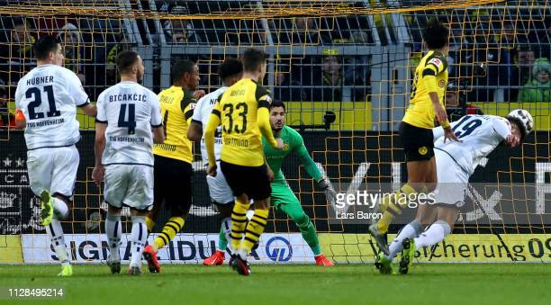 Ishak Belfodil of Hoffenheim scores his teams third goal during the Bundesliga match between Borussia Dortmund and TSG 1899 Hoffenheim at Signal...