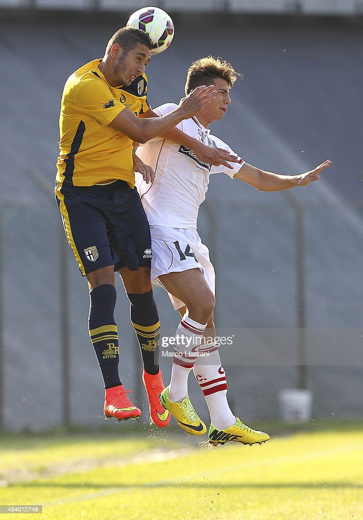 Ishak Belfodil of Parma competes for the ball with Massimiliano Gatto of Carpi FC at Stadio Sandro Cabassi on August 23, 2014 in Carpi, Italy.