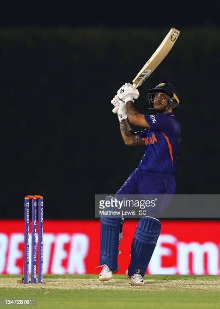 Ishan Kishan of India plays a shot during the India and England warm Up Match prior to the ICC Men's T20 World Cup at on October 18, 2021 in Dubai,...
