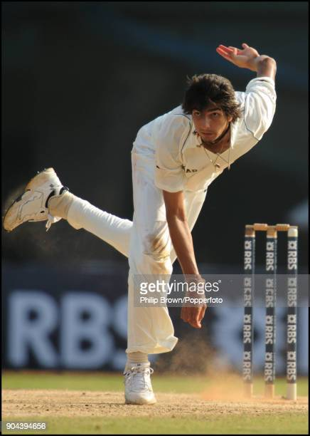 Ishant Sharma bowling for India during the 1st Test match between India and England at MA Chidambaram Stadium Chennai India 11th December 2008 India...