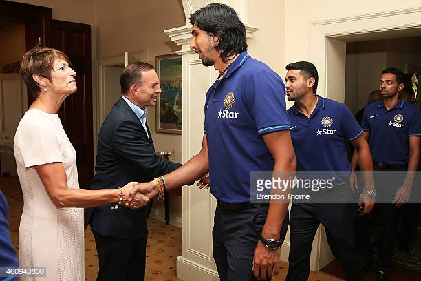 Ishant Sharma meets with Australian Prime Minister Tony Abbott and his wife Margaret Abbott during the Australian and Indian cricket team visit at...