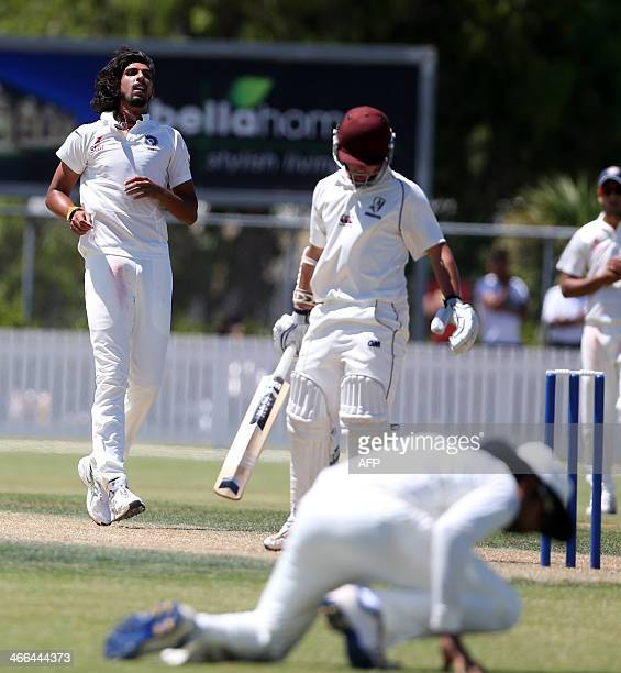 Ishant Sharma of India bowls to New Zealand XI's Jono Hickey during day one of the two day international cricket warm up match between the New...