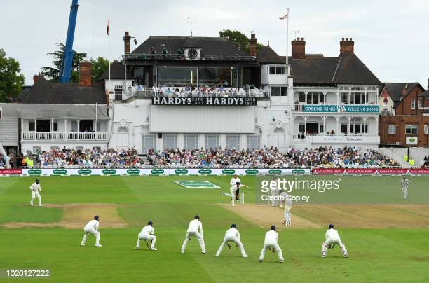 Ishant Sharma of India bowls with five slip fielders to Alastair Cook of England during day three of the Specsavers 3rd Test match between England...