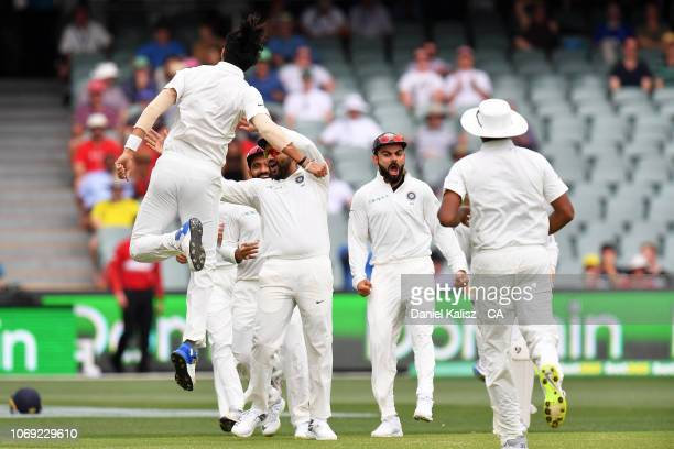 Ishant Sharma of India celebrates after bowling Aaron Finch of Australia during day two of the First Test match in the series between Australia and...