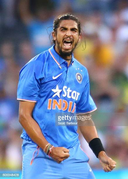 Ishant Sharma of India celebrates after dismissing Shaun Marsh of Australia during game three of the One Day International Series between Australia...