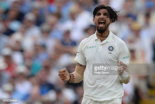 Ishant Sharma of India celebrates after dismissing Stuart Broad of England during the third day of the 1st Specsavers Test Match between England and...