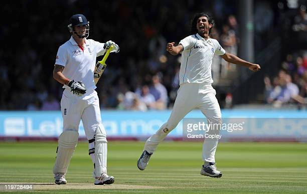 Ishant Sharma of India celebrates dismissing Kevin Pietersen of England during day four of the 1st npower test match between England and India at...