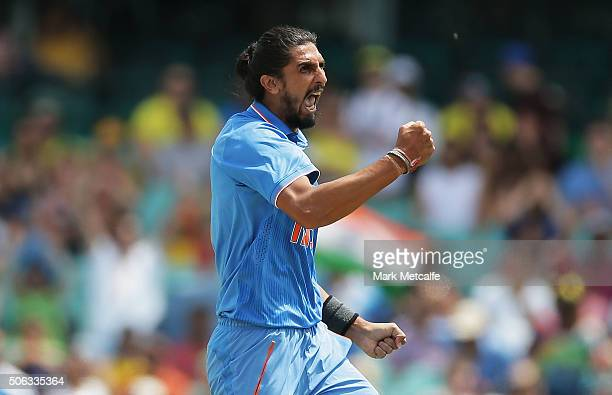 Ishant Sharma of India celebrates taking the wicket of Aaron Finch of Australia during game five of the Commonwealth Bank One Day Series match...