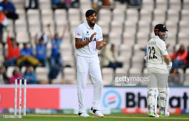Ishant Sharma of India celebrates taking the wicket of Devon Conway of New Zealand during Day 3 of the ICC World Test Championship Final between...