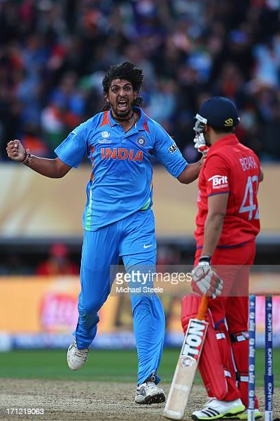Ishant Sharma of India celebrates taking the wicket of Ravi Bopara during the ICC Champions Trophy Final match between England and India at Edgbaston...