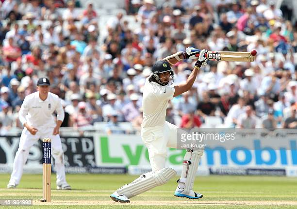 Ishant Sharma of India hits out during day two of the 1st Investec Test between England and India at Trent Bridge on July 10 2014 in Nottingham...