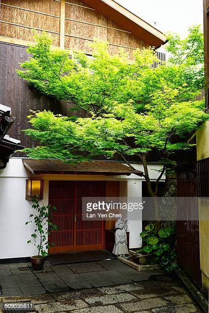 Ishibe Alley is a historical stone paved street beside the Kodai-ji Temple with full of ancient stories, in Gion area, Kyoto Japan.