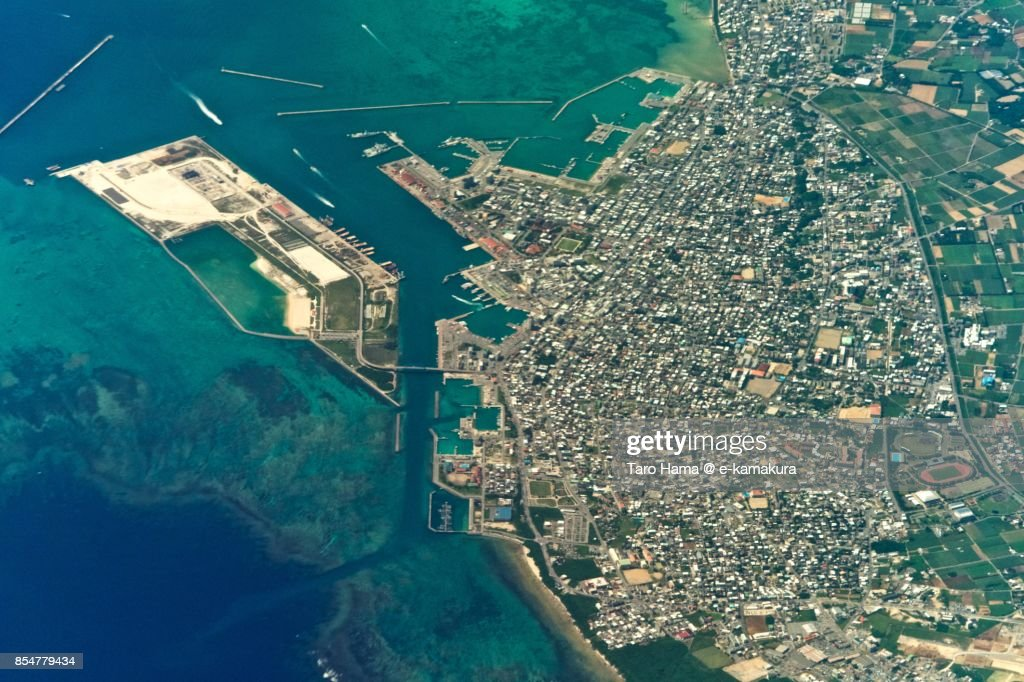 Ishigaki Island in Okinawa prefecture daytime aerial view from airplane : ストックフォト