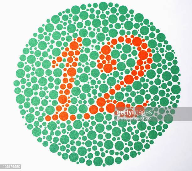 Ishihara color plate used to check for color blindness during regular optometry exam color blind patient is unable to see number Regular eye exams...