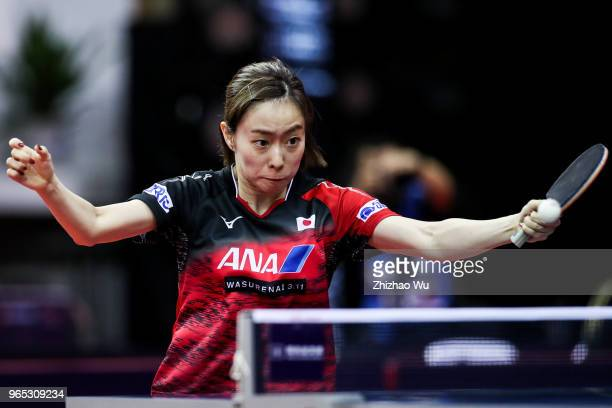 Ishikawa Kasumi of Japan in action at the women's singles match compete with Solja Petrissa of Germany during the 2018 ITTF World Tour China Open on...
